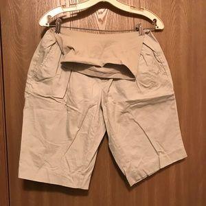 Khaki maternity shorts